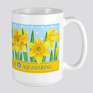 Birth Flowers And Gem March Large Mug